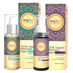 Buy Arganic by Aryanveda 100% Moroccan Argan Hair Oil & Shampoo Combo Pack - Nykaa