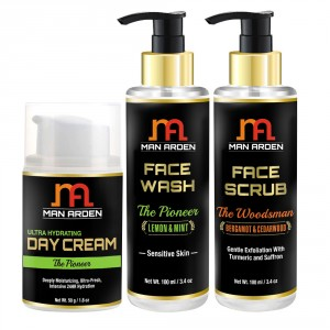 Buy Man Arden Ultra Hydrating Day Cream + Face Wash (The Pioneer) + Face Scrub (The Woodsman) - Nykaa