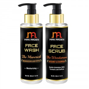 Buy Man Arden Face Wash (The Maverick) + Face Scrub (The Woodsman) - Nykaa