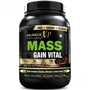 Buy MuscleXP Mass Gain Vital (Mass Gainer with MultiVitamins), Double Rich Chocolate - 1Kg (2.2 lbs) - Nykaa
