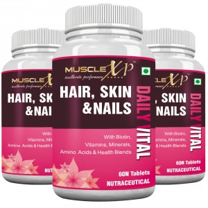 Buy MuscleXP Biotin Hair, Skin & Nails Complete MultiVitamin (Pack of 3) - Nykaa