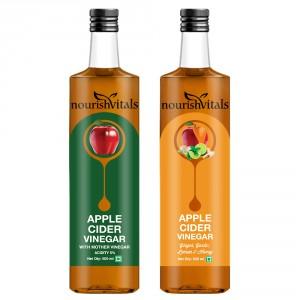 Buy Nourish Vitals Apple Cider Vinegar + Apple Cider Vinegar with Ginger, Garlic, Lemon and Honey - Nykaa