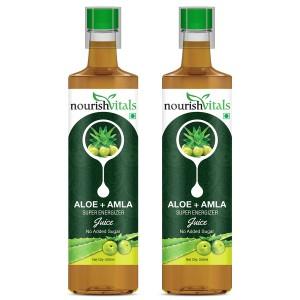 Buy Nourish Vitals Aloe + Amla Super Energizer Juice (Pack Of 2) - Nykaa