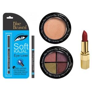 Buy Blue Heaven Xpression Lipstick Cb 028, Bh Kajal Liner, Eye Magic Eye Shadow 605 & Diamond Blush On 505 Combo - Nykaa