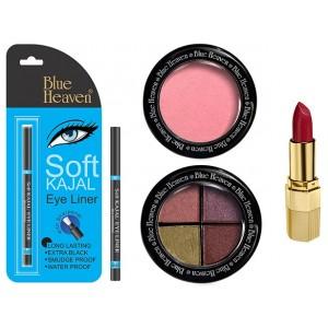 Buy Blue Heaven Xpression Lipstick P 067, Bh Kajal Liner, Eye Magic Eye Shadow 605 & Diamond Blush On 504 Combo - Nykaa