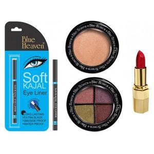 Buy Blue Heaven Xpression Lipstick R 008 , Bh Kajal Liner, Eye Magic Eye Shadow 605 & Diamond Blush On 505 Combo - Nykaa