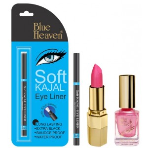 Buy Herbal Blue Heaven Xpression Lipstick P 077, Xpression Nail Paint 928 & Bh Kajal Liner Combo - Nykaa