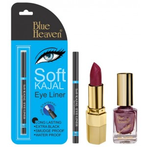 Buy Blue Heaven Xpression Lipstick P 079, Xpression Nail Paint 987 & Bh Kajal Liner Combo - Nykaa