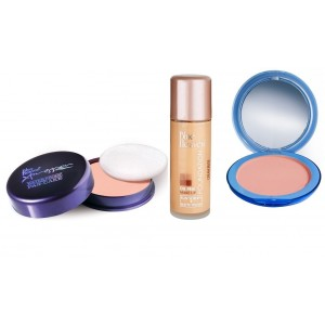 Buy Blue Heaven Xpression Pan Cake (61), Oil Free Foundation (Cream Beige) & Silk On Face Compact (Natural) Combo - Nykaa