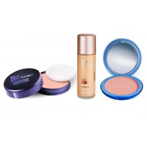 Buy Blue Heaven Xpression Pan Cake (66), Oil Free Foundation (Cream Beige) & Silk On Face Compact (Natural) Combo - Nykaa