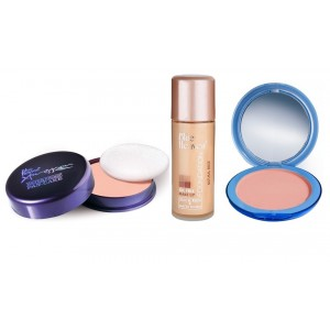 Buy Blue Heaven Xpression Pan Cake (63), Oil Free Foundation (Natural Beige) & Silk On Face Compact (Blush) Combo - Nykaa