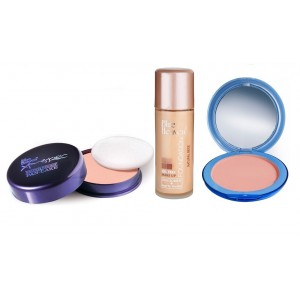 Buy Blue Heaven Xpression Pan Cake (64), Oil Free Foundation (Natural Beige) & Silk On Face Compact (Blush) Combo - Nykaa