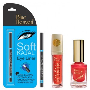 Buy Blue Heaven Long Wear Lip Color 235, Xpression Nail Paint 991 & Bh Kajal Liner Combo - Nykaa