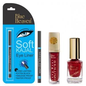 Buy Blue Heaven Long Wear Lip Color 247, Xpression Nail Paint 923 & Bh Kajal Liner Combo - Nykaa