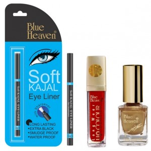 Buy Blue Heaven Long Wear Lip Color 251, Xpression Nail Paint 992 & Bh Kajal Liner Combo - Nykaa