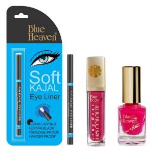 Buy Blue Heaven Long Wear Lip Color 224, Xpression Nail Paint 993 & Bh Kajal Liner Combo - Nykaa