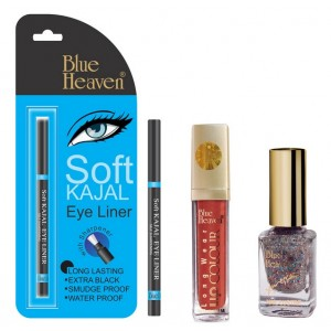 Buy Blue Heaven Long Wear Lip Color 245, Xpression Nail Paint 998 & Bh Kajal Liner Combo - Nykaa