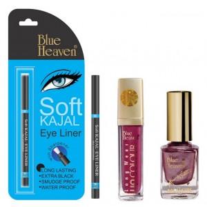 Buy Blue Heaven Long Wear Lip Color 233, Xpression Nail Paint 987 & Bh Kajal Liner Combo - Nykaa