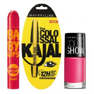 Buy Maybelline Baby Lips Candy Wow - Cherry + Colossal Kajal + Free Nail Lacquer - Hooked On Pink - Nykaa