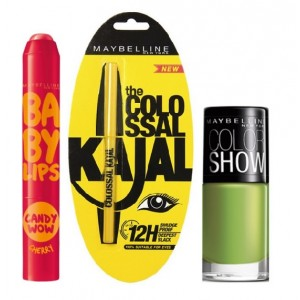 Buy Maybelline Baby Lips Candy Wow - Cherry + Colossal Kajal + Free Nail Lacquer - Mint Mojito - Nykaa