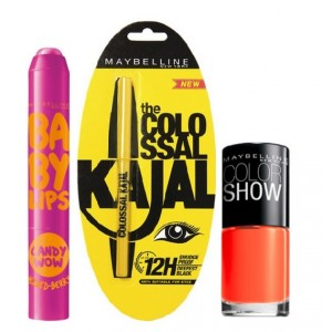 Buy Maybelline Baby Lips Candy Wow - Mixed Berry + Colossal Kajal + Free Nail Lacquer-Orange Fix - Nykaa