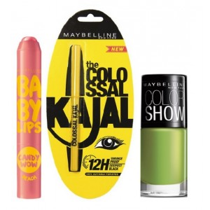 Buy Maybelline Baby Lips Candy Wow - Peach + Colossal Kajal + Free Nail Lacquer - Mint Mojito - Nykaa