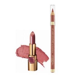Buy L'Oreal Paris Color Riche Moist Matte Lipstick - Maple Mocha + Lip Linner Couture - Beige A NU - Nykaa