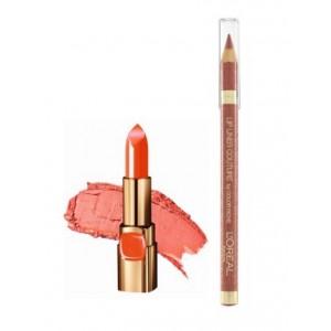 Buy L'Oreal Paris Color Riche Moist Matte Lipstick - Orange Power + Lip Linner Couture - Beige A NU - Nykaa