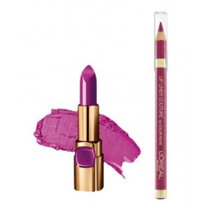 Buy L'Oreal Paris Color Riche Moist Matte Lipstick - Glamour Fuchsia + Lip Linner Couture - Blush Fever - Nykaa