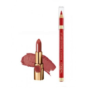 Buy L'Oreal Paris Color Riche Moist Matte Lipstick - Flaming Kiss + Lip Linner Couture - Perfect Red - Nykaa