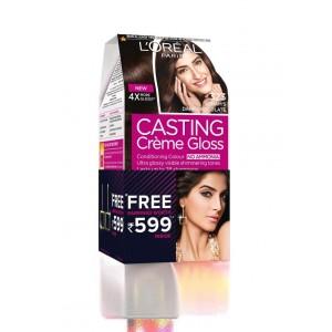 Buy L'Oreal Paris Casting Creme Gloss Hair Color - 323 Sonam's Dark Chocolate + Free Earrings - Nykaa