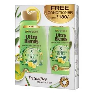 Buy Garnier Ultra Blends 5 Precious Herbs Shampoo + Free Conditioner - Nykaa