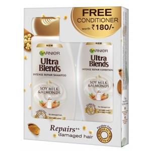 Buy Garnier Ultra Blends Soy Milk & Almonds Shampoo + Free Conditioner - Nykaa