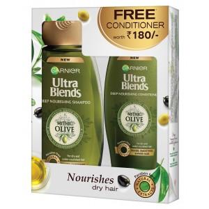Buy Garnier Ultra Blends Mythic Olive Shampoo + Free Conditioner - Nykaa