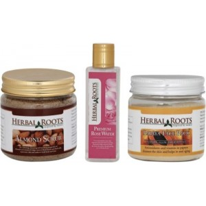 Buy Herbal Roots Skin Whitening Kit For Dry Skin - Almond Scrub, Papaya Face Pack, Premium Rose Water - Nykaa