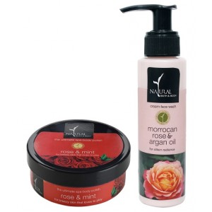 Buy Natural Bath & Body Rose And Mint Ultimate Spa Body Polisher And Morrocan Rose And Argan Oil After Bath Oil Combo - Nykaa