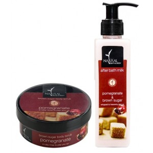Buy Natural Bath & Body Brown Pomegrante Sugar Body Scrub And Brown Sugar Pomegranate After Bath Milk Combo - Nykaa