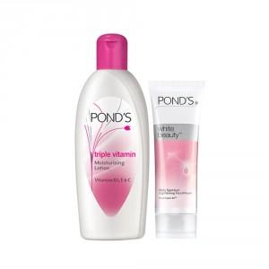 Buy Ponds Triple Vitamin Moisturising Lotion 300ml + Free Ponds White Beauty Facial Foam 20gm - Nykaa