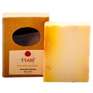 Buy TVAM Almond & Saffron Goat Milk Handmade Bath Bar - Nykaa