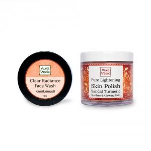 Buy Herbal Auravedic Kumkumadi Face Wash & Pure Lightening Skin Polish (set of 2) - Nykaa