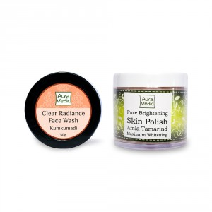 Buy Auravedic Kumkumadi Face Wash & Pure Brightening Skin Polish (set of 2) - Nykaa