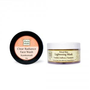 Buy Auravedic Kumkumadi Face Wash & Skin Lightening Mask (set of 2) - Nykaa