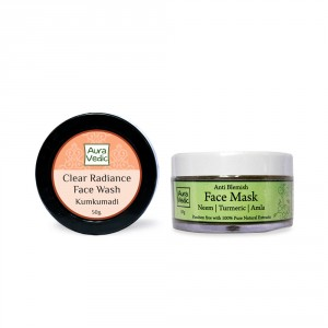 Buy Auravedic Kumkumadi Face Wash & Anti Blemish Face Mask (set of 2) - Nykaa