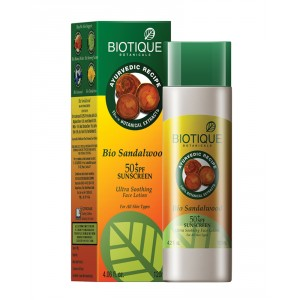 Buy Herbal Biotique Bio Sandalwood Ultra Soothing Face Lotion 50+ SPF Sunscreen - Nykaa