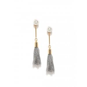 Buy Toniq Pearl Drop Grey Tassel Earring - Nykaa
