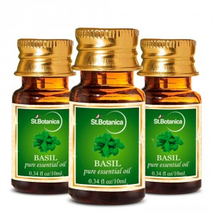 Buy Herbal St.Botanica Basil Pure Aroma Essential Oil - 10ml x 3 - Nykaa