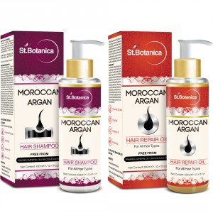 Buy St.Botanica Moroccan Argan Hair Shampoo + Hair Repair Oil (Combo Pack) - Nykaa