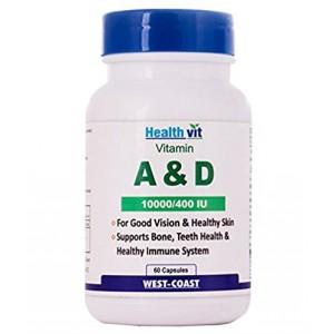 Buy HealthVit Vitamin A & D 10000/400 IU 60 Capsules - Nykaa