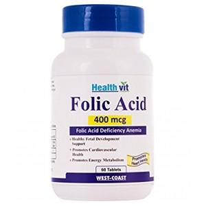 Buy HealthVit Folic Acid 400 Mcg 60 Tablets - Nykaa