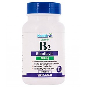 Buy HealthVit Vitamin B2 Riboflavin 100 Mg 60 Tablets - Nykaa